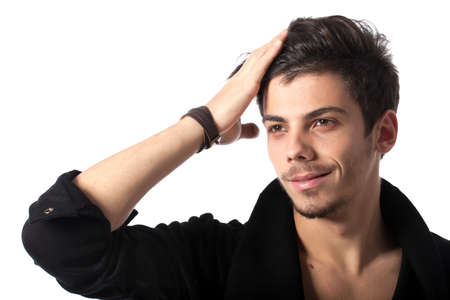 Portrait of a young man with cool hairstyle. Isolated on white background. Studio horizontal image. photo