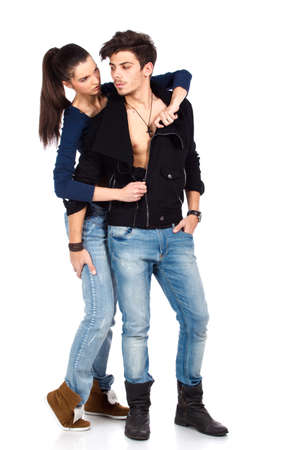 Young couple of two sexy man and woman in foreplay. Isolated on white background. High resolution studio image Stock Photo - 12389032