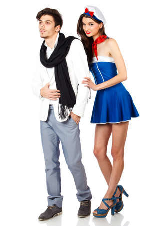 Sexy couple of young sailor woman and elegant handsome man. Isolated on white background. High resolution studio image Stock Photo - 12389023