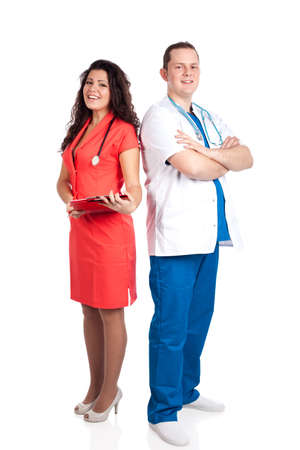 Happy couple of handsome man doctor and pretty nurse in blue, white and tangerine tango uniforms, looking at camera. Full body image, isolated on white background. Healthcare concept series. photo
