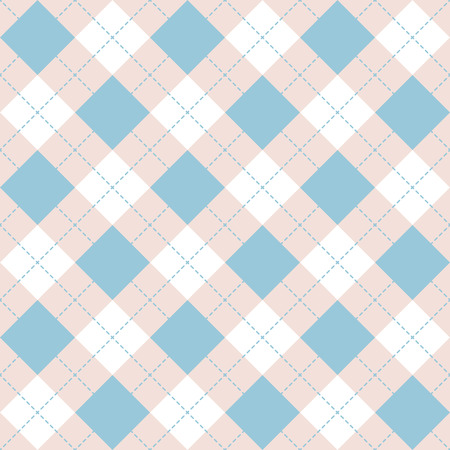 Seamless argyle plaid blue pattern. Diamond check - idea for your print. Hand draw Illustration