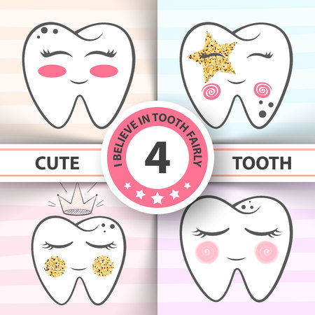 Cute tooth - medical, health illustration. Hand draw