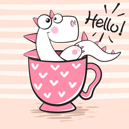Cute dino with cup of tea. Hand draw