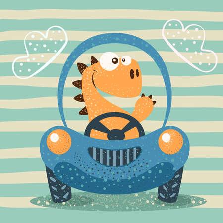 Cute dino drive funny car. Hand Draw