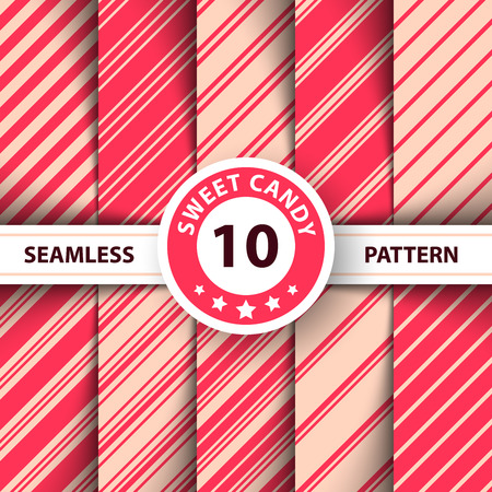 Striped sweet line Merry Christmas pattern. Hand Draw