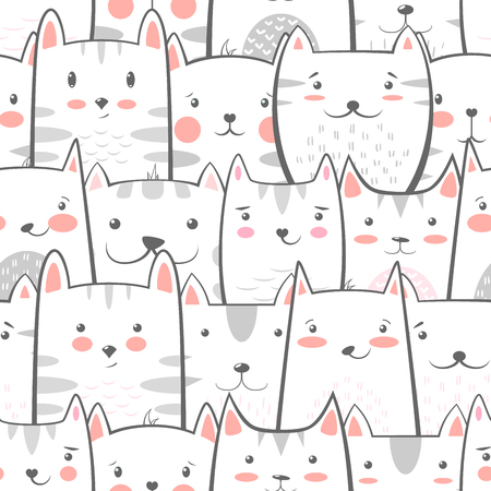 Cat, kitty - cute, funny pattern Hand draw