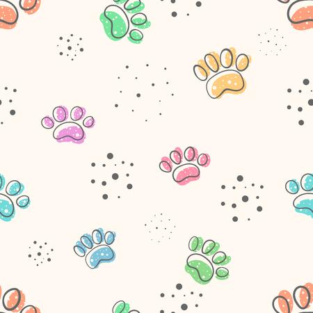 Hundepfote - süßes nahtloses Muster. Hand zeichnen