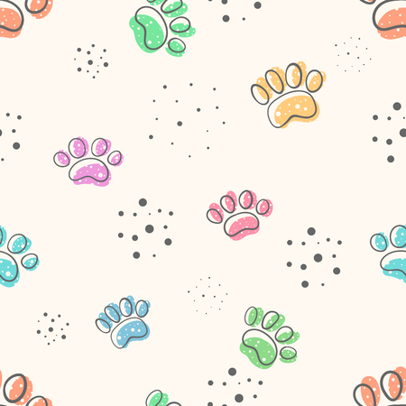 dog paw - cute seamles pattern. Hand draw