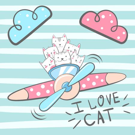 Cartoon cat, kitty characters. Airplane illustration Hand draw