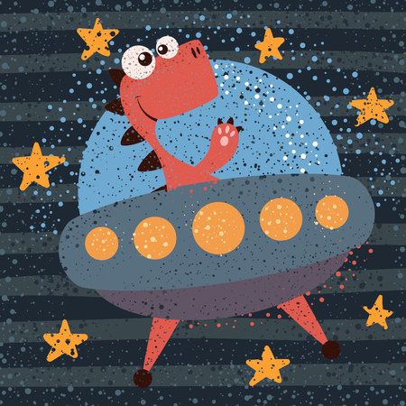 Cute, cool, pretty, funny, crazy beautiful dino character Ufo illustration Hand draw Ilustrace