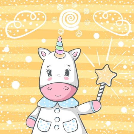 Cute magic trik unicorn characters. Hand draw Ilustrace