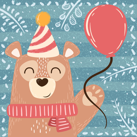 Cute winter illustration. Bear characters Hand Ilustrace