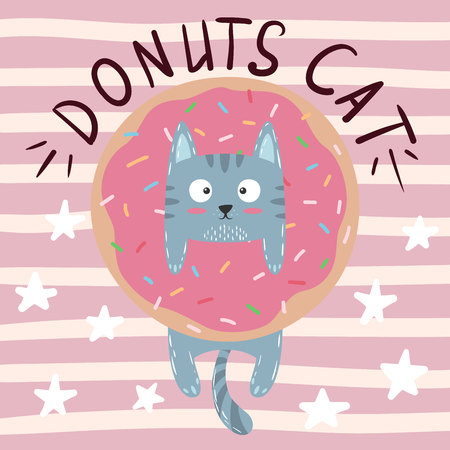 Cute, cool, pretty, funny, crazy beautiful cat kitty with donut Hand draw