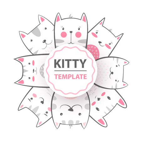 Cute, cool, pretty, funny crazy beautiful cat kitty Hand draw