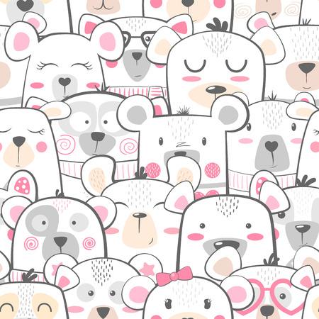 Seamless pattern - cute set bear. Hand draw
