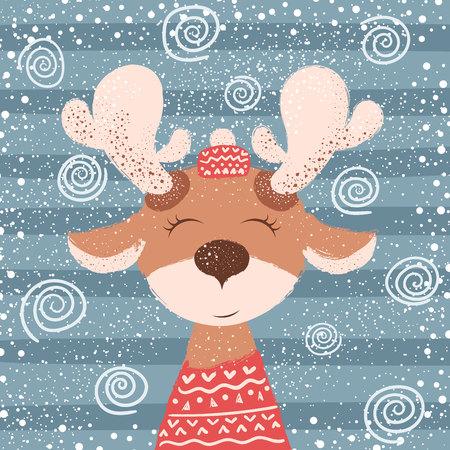 Cartoon funny deer character. Winter illustration. Hand draw