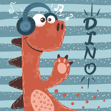 Cute dino characters. Music illustration. Vector eps 10