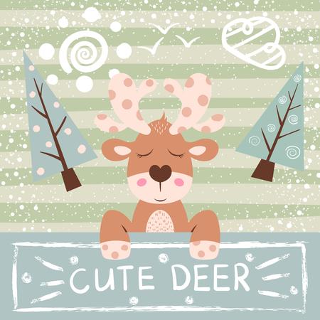 Cute, funny cartoon deer illustration. Hand draw