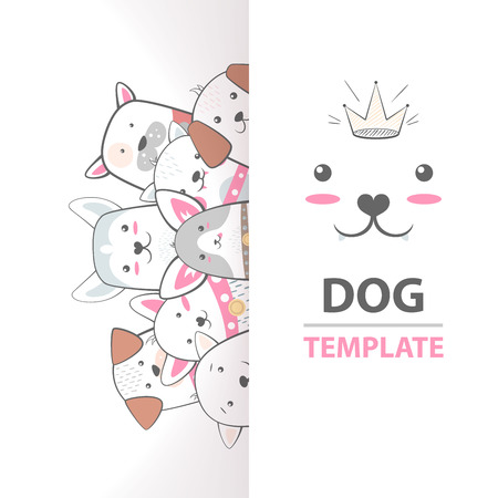 Cute, cool, pretty, funny, crazy, beautiful dog template. Hand draw
