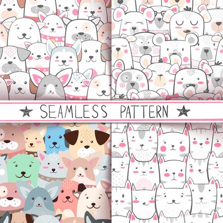 Cat, dog, bear - seamless pattern Hand draw