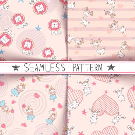 Unicorn, deer, girl rabbit - seamless pattern Vector eps 10