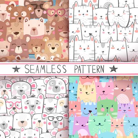 Cat, bear - cute seamless pattern. Hand draw