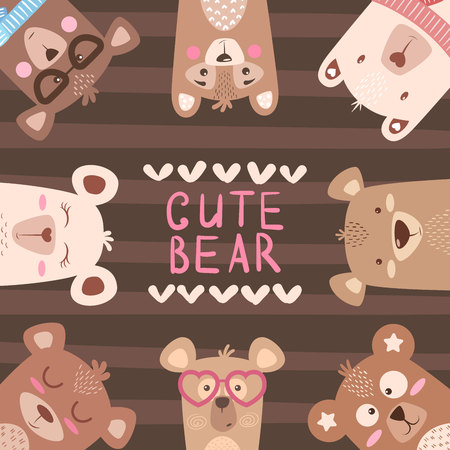 Cute winter illustration. Bear characters. Hand draw