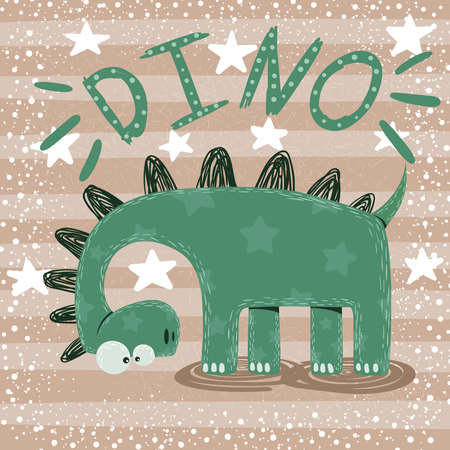 Cute, funny, crazy dinosaur characters Hand draw