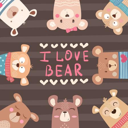 Cute winter illustration. Bear characters. h