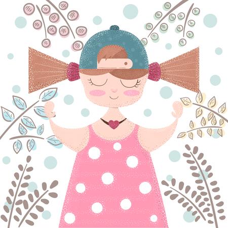 Cute, beautifu girl - cartoon illustration. Hand draw Ilustrace