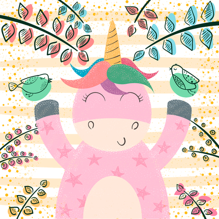 Cute unicorn in the magic forest. Hand draw