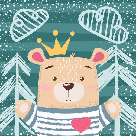 Cute princess teddy bear illustration. Hand draw