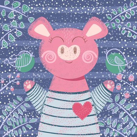 Cute winter pig - children illustration. Hand draw