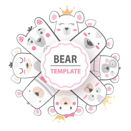 Cute winter illustration. Bear characters. h Ilustración de vector