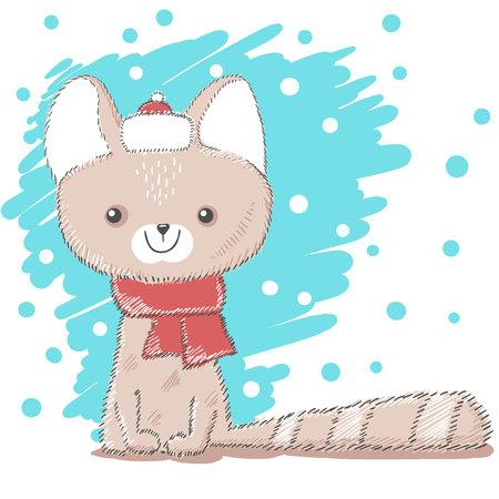 Cute, pretty love cat illustration. Hand draw