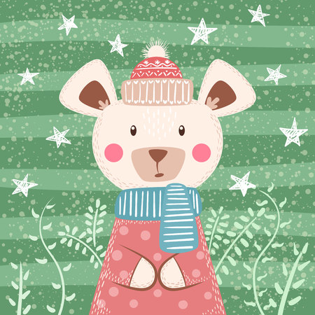 Cute winter illustration. Bear characters Han Ilustrace