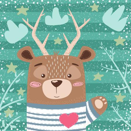 Cute bear, deer cartoon illustration. Hand draw