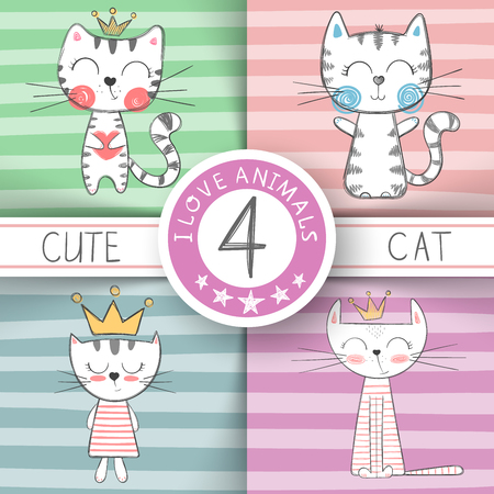 Cute little princess - cat characters. Hand draw