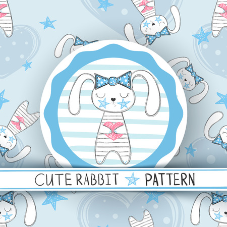 Cute seamless pattern - rabbit cartoon. Hand draw Ilustrace