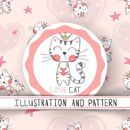 Cute cat - cartoon seamless pattern. Hand draw Ilustrace