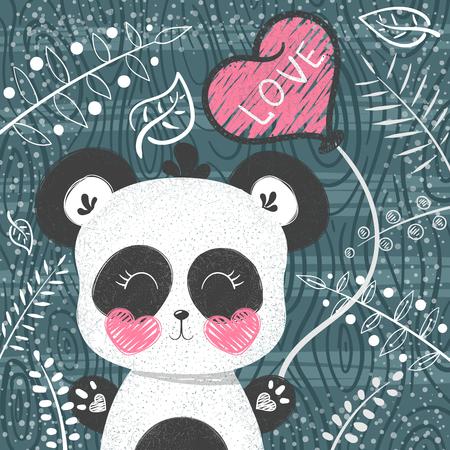Cute panda pattern - little princess. Hand draw