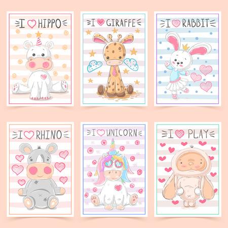 Set animals - crtoon a4 template. Vector eps 10 Ilustração