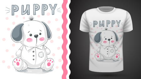 Dog, puppy - idea for print t-shirt. Hand draw