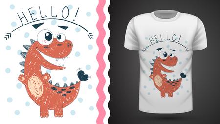 Cute princess dinosaur - idea for print t-shirt. Hand draw Illusztráció