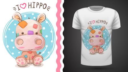 Hipopótamo, hipopótamo - idea para camiseta estampada. Vector eps 10 Ilustración de vector