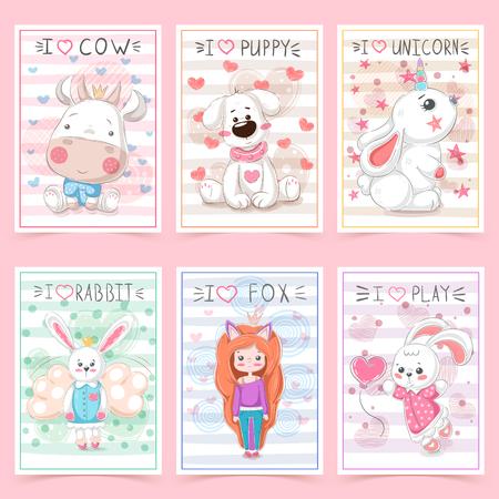 Set teddy animals. Idea for greeting card. Vector eps 10