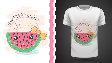 Cute watermelon - idea for print t-shirt. Hand draw 向量圖像