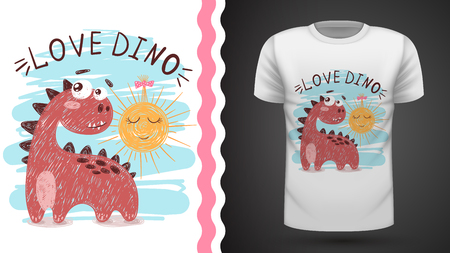 Dino and sun - idea for print t-shirt. Hand draw