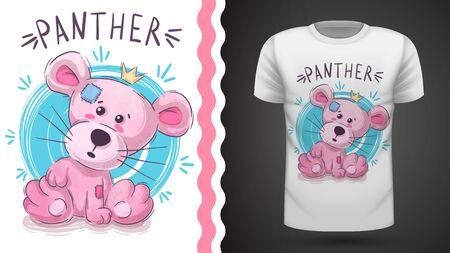 Pink cat - idea for print t-shirt. Hand draw Иллюстрация