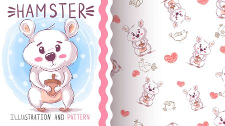 Cute teddy hamster - seamless pattern. Hand draw Vectores
